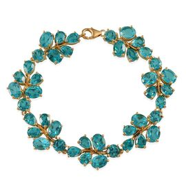 Capri Blue Quartz (Ovl) Bracelet in 14K Gold Overlay Sterling Silver (Size 7.5) 47.750 Ct.
