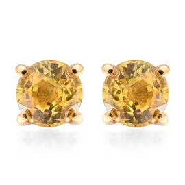Chanthaburi Yellow Sapphire (Rnd) Stud Earrings (with Push Back) in 14K Gold Overlay Sterling Silver 1.100 Ct.