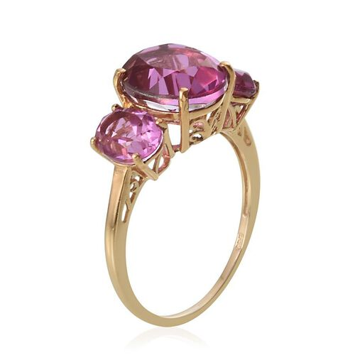 Kunzite Colour Quartz (Ovl 5.25 Ct) 3 Stone Ring in 14K Gold Overlay Sterling Silver 8.000 Ct.