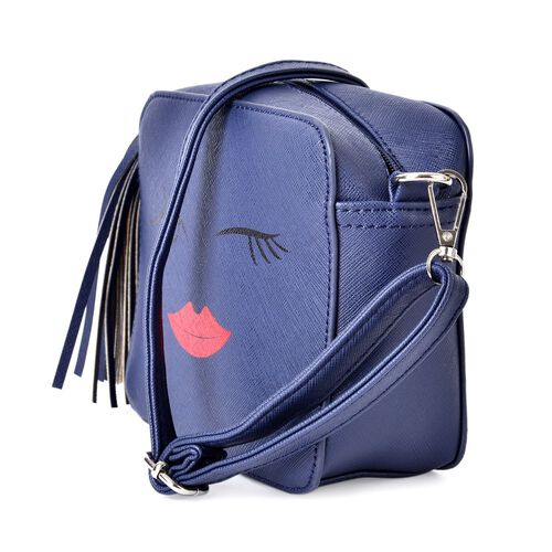 Blue Summer Fun Crossbody Bag with External Zipper Pocket and Adjustable and Removable Shoulder Strap and Tassels (Size 17.5x15x7 Cm)