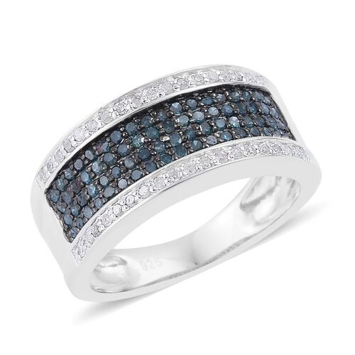 Blue Diamond (Rnd), White Diamond Ring in Platinum Overlay Sterling Silver 0.700 Ct.