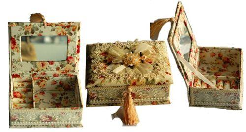 COLLECTORS SHOWCASE- JEWELLERY BOX SHOWCASE  Beautiful Ladies Brocade Jewellery Box