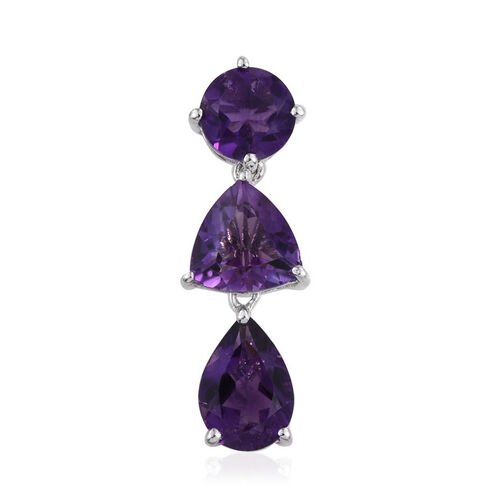 Amethyst (Trl 1.35 Ct) Pendant in Platinum Overlay Sterling Silver 3.750 Ct.