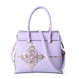 Lavender and Golden Colour Sequins Tote Bag with External Zipper Pocket and Removable Shoulder Strap (Size 32.5x29x13 Cm)