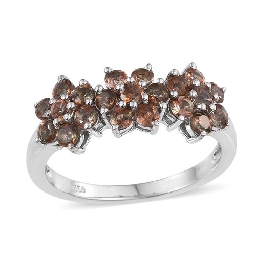 Jenipapo Andalusite (Rnd) Triple Floral Ring in Platinum Overlay Sterling Silver 1.750 Ct.