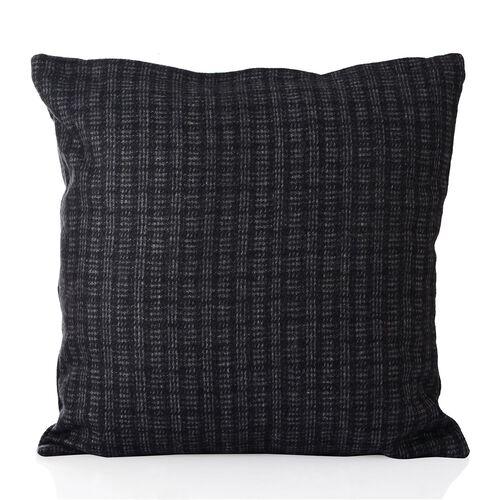 New Season Black and Grey Colour Checks Pattern Cushion (Size 43x43 Cm)