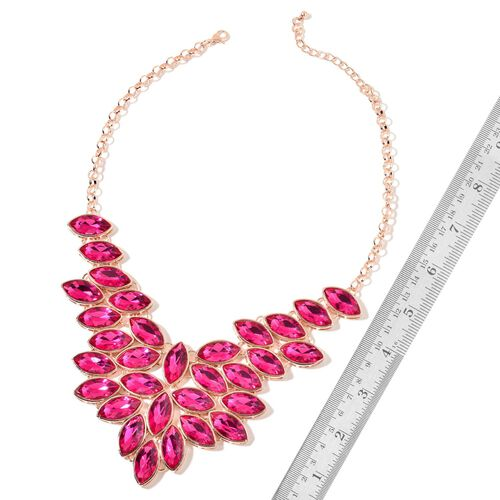 AAA Simulated Hot Pink Topaz Waterfall Cascade Necklace (Size 18 with 2 inch Extender) in Rose Gold Tone