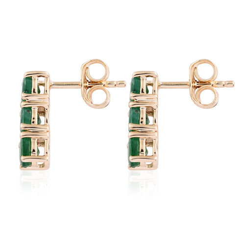 9K Yellow Gold 1.50 Ct AA Kagem Zambian Emerald Earrings (with Push Back)