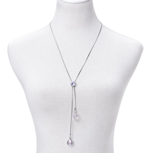 Simulated White Diamond Necklace (Size 22 with 2 inch Extender) in Silver Tone