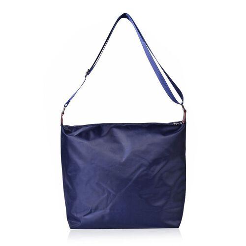 Navy Colour Crossbody Bag with External Zipper Pocket and Adjustable Shoulder Strap (Size 38x34x32x12.5 Cm)