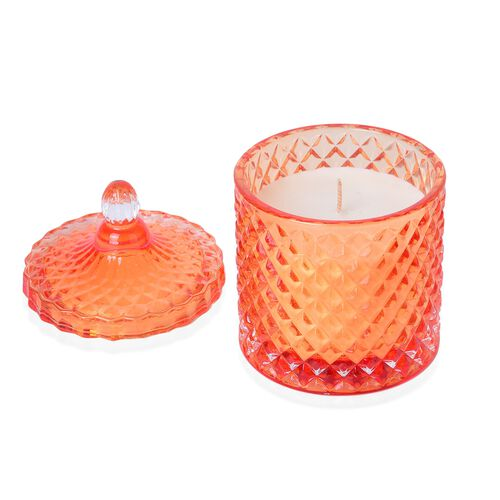 Orange Fragrance Aromatic Candle in Orange Colour Carved Glass Container (Size 15X8.5 Cm)