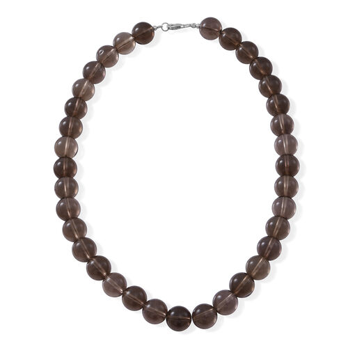 Brazilian Smoky Quartz Necklace (Size 18) in Rhodium Plated Sterling Silver 450.000 Ct.