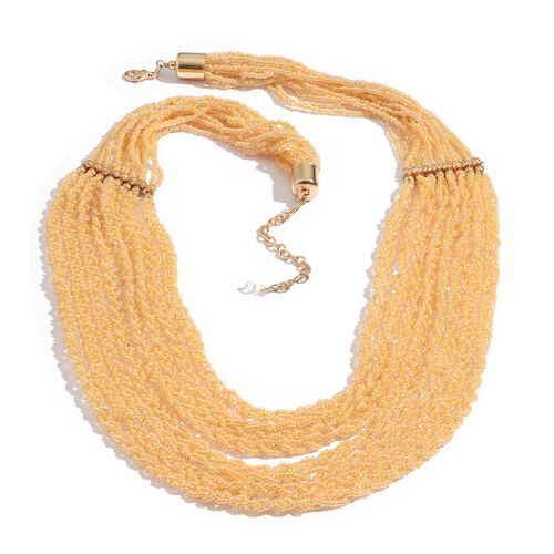 Yellow Colour Seed Beaded 8 Strand Necklace with Lobster Lock (Size 30 with Extender)