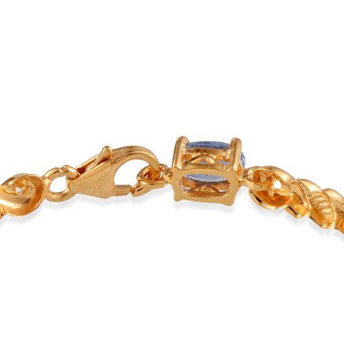 Himalayan Kyanite (Ovl) Bracelet in 14K Gold Overlay Sterling Silver (Size 7.5) 6.750 Ct.