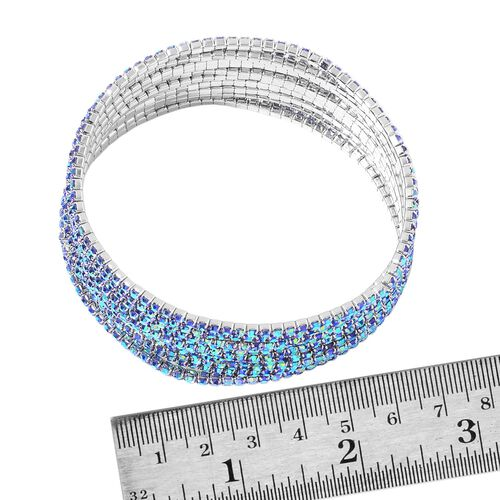 Set of 10 - Designer Inspired - Blue Colour Crystal Stretchable Bracelet (Size 7.5) in Silver Tone