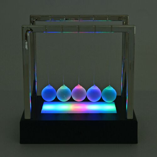 Newtons Cradle with Multi Colour LED Shining Light Balls (Size 15X11.2 Cm)