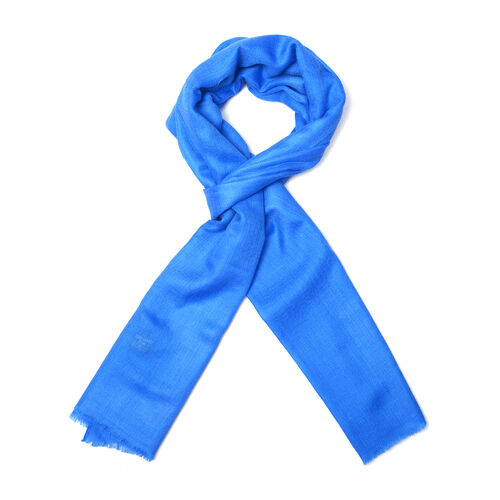 Mothers Day Special-100% Cashmere Wool Dark Blue Colour Scarf with Fringes (Size 200X70 Cm)