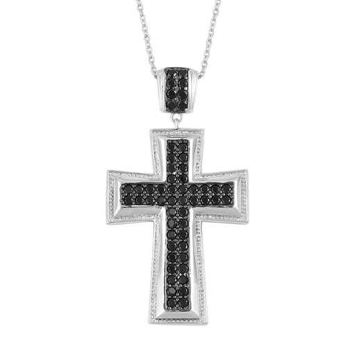 Boi Ploi Black Spinel Cross Pendant With Chain in Black Rhodium Plated Sterling Silver 2.000 Ct. Silver wt 9.25 Gms.
