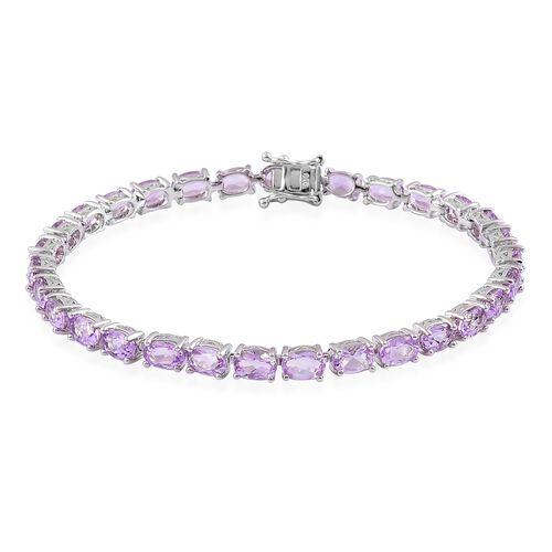Rose De France Amethyst (Ovl) Tennis Bracelet (Size 7.5) in Platinum Overlay Sterling Silver 12.000 Ct.