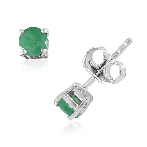 Kagem Zambian Emerald 0.75 Ct Silver Solitaire Pendant and Stud Earrings (with Push Back) in Platinum Overlay