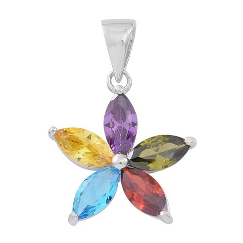 ELANZA AAA Simulated Multi Gemstone (Mrq) Flower Pendant in Rhodium Plated Sterling Silver