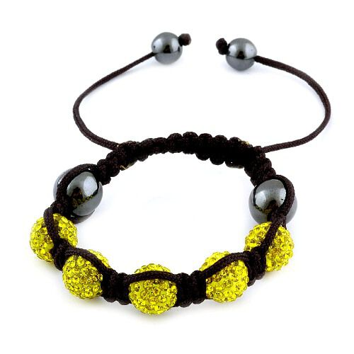 Yellow Austrian Crystal and Hematite Bracelet (Adjustable) 33.00 Ct.