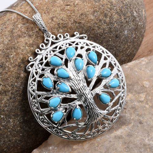 Arizona Sleeping Beauty Turquoise (Pear) Tree Pendant With Chain in Platinum Overlay Sterling Silver 3.000 Ct.