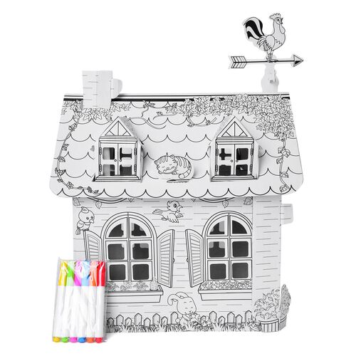 Do it Yourself 3D Cottage Craft with Colours (Size 51X32.5X23.5 Cm)