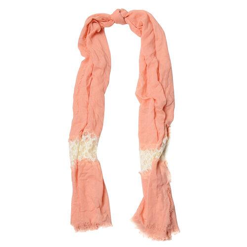Peach Colour Scarf with Cream Colour Lace (Size 210x75 Cm)