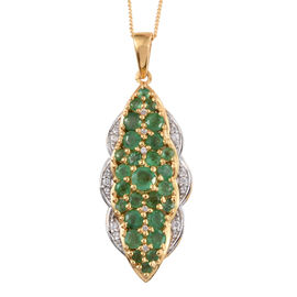 Kagem Zambian Emerald (Rnd), Natural Cambodian Zircon Pendant with Chain in 14K Gold Overlay Sterling Silver 2.170 Ct.