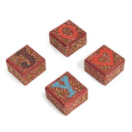 JOY - Set of 4 - Handcrafted Red and Multi Colour Beads Embellished Joy Bling Box (Size 6.5x6.5X4 Cm)