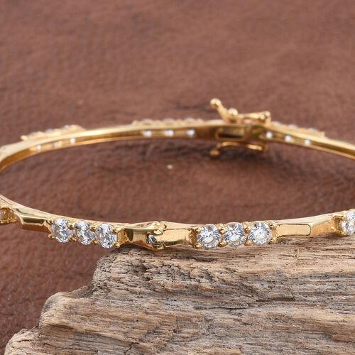 J Francis - 14K Gold Overlay Sterling Silver (Rnd) Bangle (Size 7.75) Made with SWAROVSKI ZIRCONIA