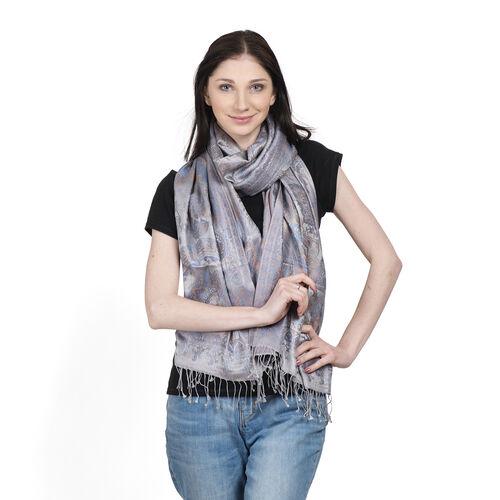 SILK MARK- 100% Superfine Silk Grey and Multi Colour Jacquard Jamawar Scarf with Fringes (Size 190x70 Cm)
