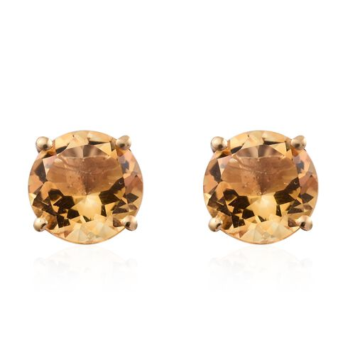 Citrine 3.75 Ct Silver Solitaire Stud Earrings  in Gold Overlay (with Push Back)