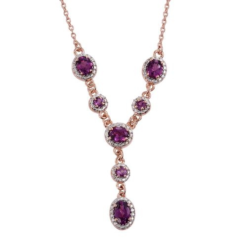 Rare Mozambique Grape Colour Garnet (Ovl 0.60 Ct) Necklace (Size 18) in Rose Gold Overlay Sterling Silver 2.250 Ct.