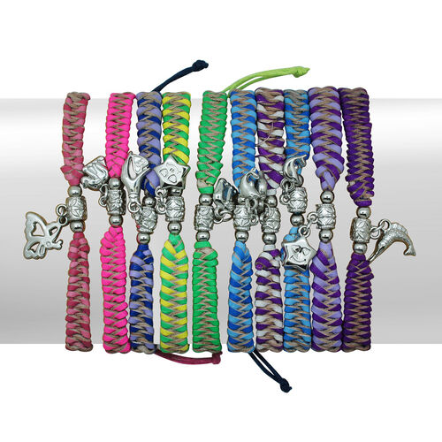 Set of 10 - Royal Bali Collection Multi Colour Hand Weaved Bracelet with Charm