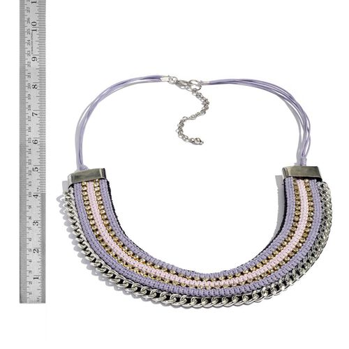 Jewels of India Purple and Pink Thread and Zircon Silver Plated Brass Choker Necklace (Size 9 with 3 inch Extender)