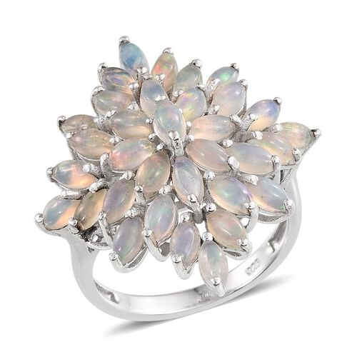 AA Ethiopian Welo Opal (Mrq) Cluster Ring in Platinum Overlay Sterling Silver 3.250 Ct.