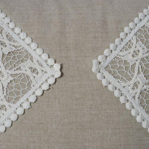 (Option 1) Beige Colour Net Patch Work Cushion (Size 43x43 Cm)
