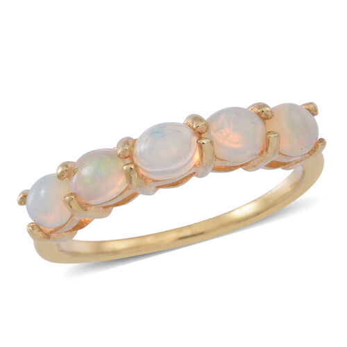 Ethiopian Welo Opal (Ovl) 5 Stone Ring in 14K Gold Overlay Sterling Silver 1.250 Ct.