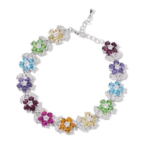 AAA Multi Colour Austrian Crystal and Simulated Diamond Floral Bracelet (Size 7.5 with 1 inch Extender) in Silver Tone