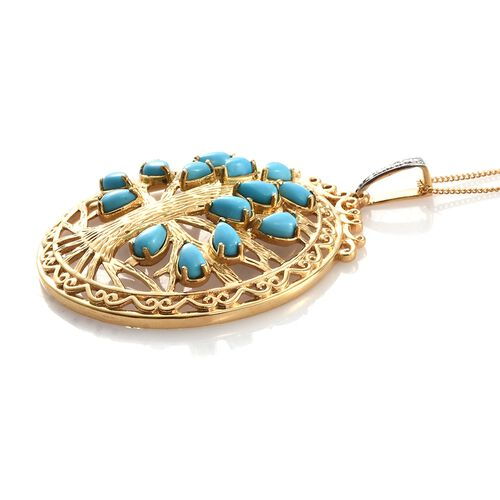 Arizona Sleeping Beauty Turquoise (Pear) Tree Pendant With Chain in 14K Gold Overlay Sterling Silver 3.000 Ct.