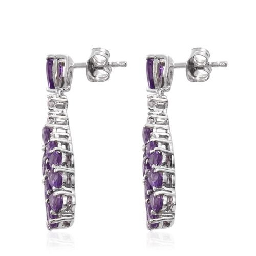 GP Amethyst (Pear), Natural Cambodian Zircon and Kanchanaburi Blue Sapphire Earrings (with Push Back) in Platinum Overlay Sterling Silver 5.000 Ct.