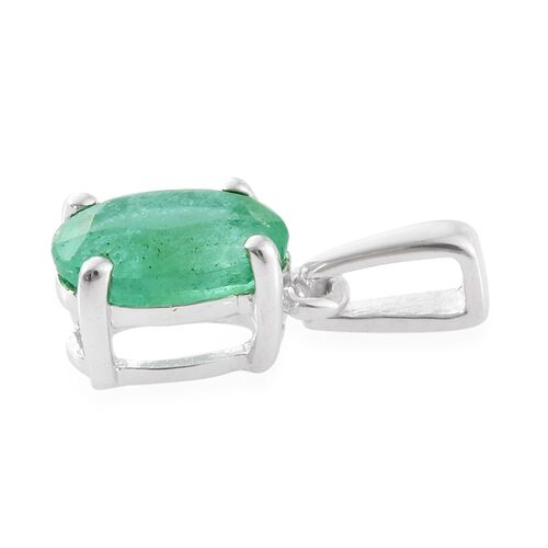 9K White Gold 0.75 Ct AA Boyaca Colombian Emerald Solitaire Pendant