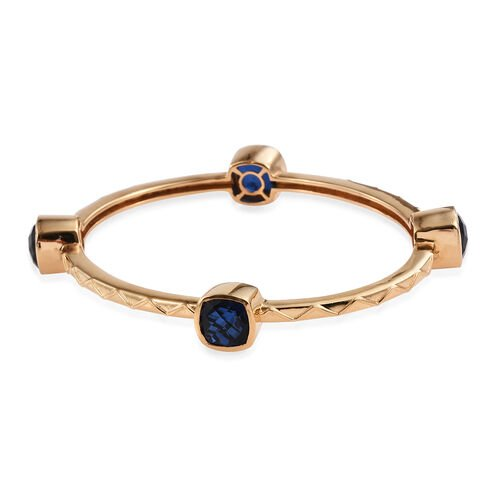 Ceylon Colour Quartz (Cush) Bangle (Size 7.5) in ION Plated 18K Yellow Gold Bond 14.000 Ct.