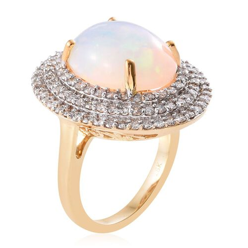 ILIANA 18K Y Gold AAA Ethiopian Welo Opal (Ovl 6.50 Ct), Diamond (SI/G-H) Ring 8.000 Ct.
