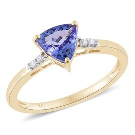 9K Yellow Gold 1.25 Ct AA Tanzanite and Diamond Ring