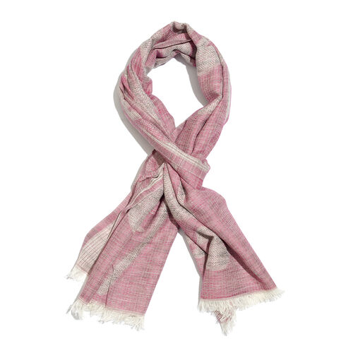 Blended Cotton Abstract Jacquard Weave Scarf (Size 180x70 Cm