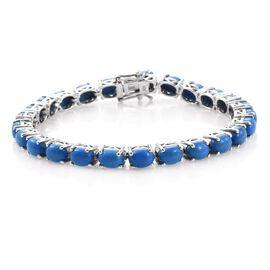 Ceruleite (Ovl) Tennis Bracelet (Size 7.5) in Platinum Overlay Sterling Silver 15.500 Ct.