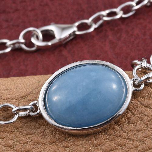 Blue Jade (Ovl) Bracelet (Size 7.5) in Platinum Overlay Sterling Silver 11.000 Ct.